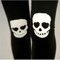 Wholesale Hot Skull Leggings Cotton Skeleton Patch Leggings for Women Punk Rock Knitted Pants Fall Fashion