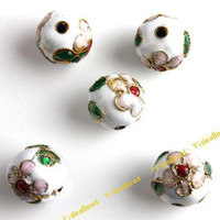 Wholesale 50 Hot White Carve Flower Filligree Cloisonn Beads Cloisonne Charms Beads Fit Diy Bead mm