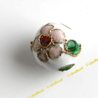 Wholesale 100 White Cloisonne Charms Beads Carve Flower Filligree Cloisonn Beads Fit Diy Bead mm