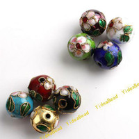 Wholesale 32 Mixed Assorted Cloisonne Charms Beads Carve Flower Filligree Beads Fit Diy Bead mm