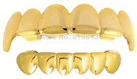 Wholesale REAL SHINY REAL GOLD PLATED HIPHOP TUSH TEETH GRILLZ TOP AND BOTTOM GRILL SET