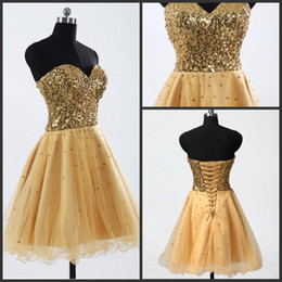 Wholesale 2015 In Stock Bling Homecoming Dresses Cheap Under Sweetheart Tulle Gold Sequins Cocktail Mini Party Short Prom Dresses