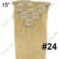 Wholesale 15 Inch Clip In On REMY Human Hair Extensions Blond g set set mix