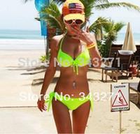 bathing steel straps - New sexy swimwear bikinis set women swimsuit neon green bikini steel care strap push up chest bathing suit swimwear