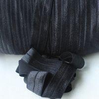 "Fashion Polyester,Spandex Animal 22mm 7 8""solid foe #030 Black Fold Over Elastic 100 yards elastic hair ties free shipping,accept custom print"