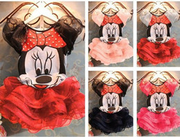 Wholesale QZ cartoon Minnie suits for Girls T shirt cake skirts set baby dress cartoon children s clothing