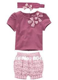 Wholesale baby girl s clothing sets cut headband purple short sleeve T shirt short pant