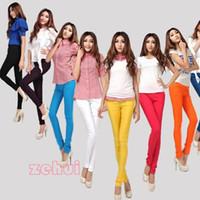 Wholesale Korean Womens Pencil Leggings Solid Multicolor Pants Skinny Stretch Trouser New