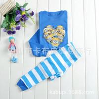 Wholesale sets baby girls boys Despicable Me minion pijamas kids cartoon homewear cotton sleepwear baby pajamas b044