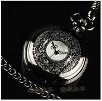 Wholesale PB004 New Mens Classical Skeleton Electroplated Black Quartz pocket watches Necklace Pocket Watch Necklace Pendant