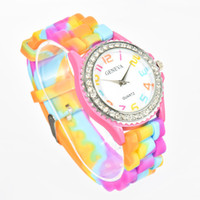 automatic alarm watches - Lackingone colorful Geneva multicolor jelly Silicone young school Crystal wrist watches fashion quartz sparkling watches