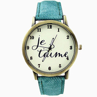 Wholesale Wristwatch New Fashion Brand Quartz Casual Watch English Letter Fabric Leather Strap Cartoon Watch Men Women Watch Hot