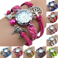 belt style bracelet - Vine Life Tree Birds Charm Leather Bracelet Style Wrist Watch MXF