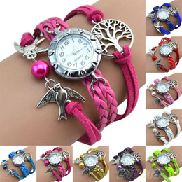 Wholesale Vine Life Tree Birds Charm Leather Bracelet Style Wrist Watch MXF