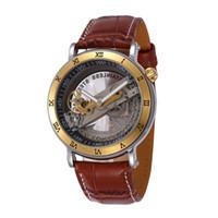 whole men wind up watch buy cheap men wind up watch from men wind up watch high quality genuine leather men mechanical hand wind watch gold skeleton