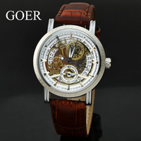 high quality automatic watches - GOER Skeleton Automatic Mechanical Watch Mens Brown Leather Date Mechanical Watches Small Seconds Wristwatch High Quality