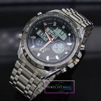 analogue alarm clock - Men s Luxury Brand Full Steel Dress Wristwatches ANALOGUE DIGITAL Sports Clock Men M Waterproof Military Watch Business Hour