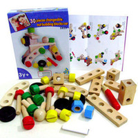 Wholesale baby DIY wooden air plane model assembly nut screw building blocks toys tools kits