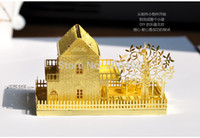 architectural metals - Metal DIY D Mini Villa Decoration assembling building Architectural model Puzzle kits toys best birthday gifts presents