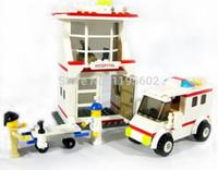 ambulance emergency - building blocks hospital emergency aid ambulance with doctor minifigures bricks girl boy toy Educational Toys