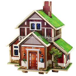 Wholesale 3D Amorous feelings of the world Diy Doll House Children s toys wooden Adult assembly building jigsaw puzzle model Building Gift