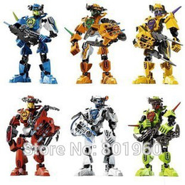Wholesale Small Plastic Robot Toy - boys game toys free shipping 6boxes set small hero factory 12CM robots 2.0 star wars block educational toys brinquedos meninos