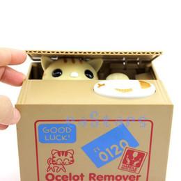 Wholesale 2015 New Smart Cat Style Moneybox Stealing Coins Penny Cents Buck Saving Money Box Piggy Bank Pot Case
