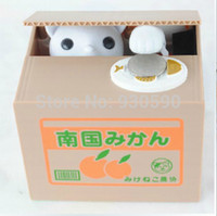 automated shipping - by CPAM Automated cat steal coin piggy bank saving money box mischief money bank yellow grey white YPHG X966