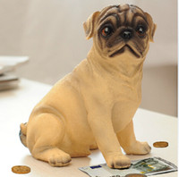 Wholesale New hot selling cute Resin dog money box simulation dog sculptures piggy bank savings coin box change cans Gift Collection