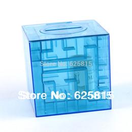 Wholesale Hot Sale Blue Money Maze Bank Saving Collectibles Coin Case Gift Box D Puzzle Game