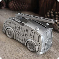 aerial fire truck - Tinwares vintage metal tin piggy bank aerial ladder fire truck car money boxes cool boy gift