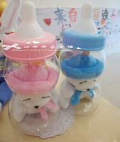 baby bottle bank - Please choose color pc cartoon transparent milk bottle plush rabbit doll plastic piggy bank money coin box children baby gift