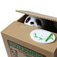 Wholesale 2015 New ME Convenient Lovely Stealing Coins Panda Cent Penny Saving Money Box Pot Case Piggy Bank EM