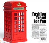 banks wool - Fashion red wool telephone booth Money Coin Box Saving Box pillar box large piggy bank