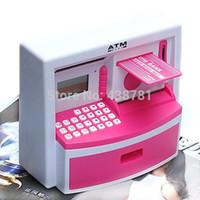 atm bank kids - 2015 New Creative ATM Money Bank Password Safe Coin Money Box Piggy Bank Kids Automatic Xmas Birthday Present