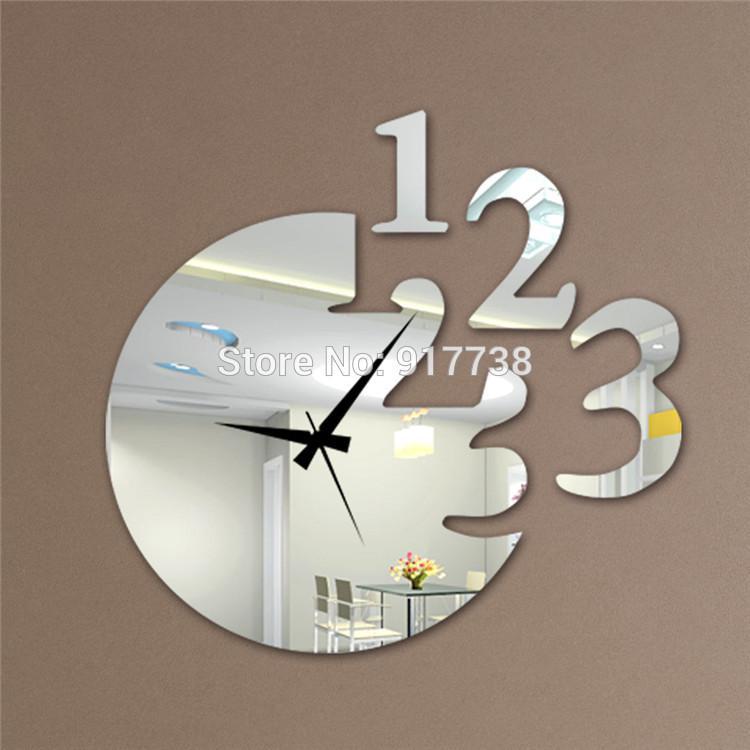 Mirror Wall Clock 12''h number style mirror wall clock modern design decorative