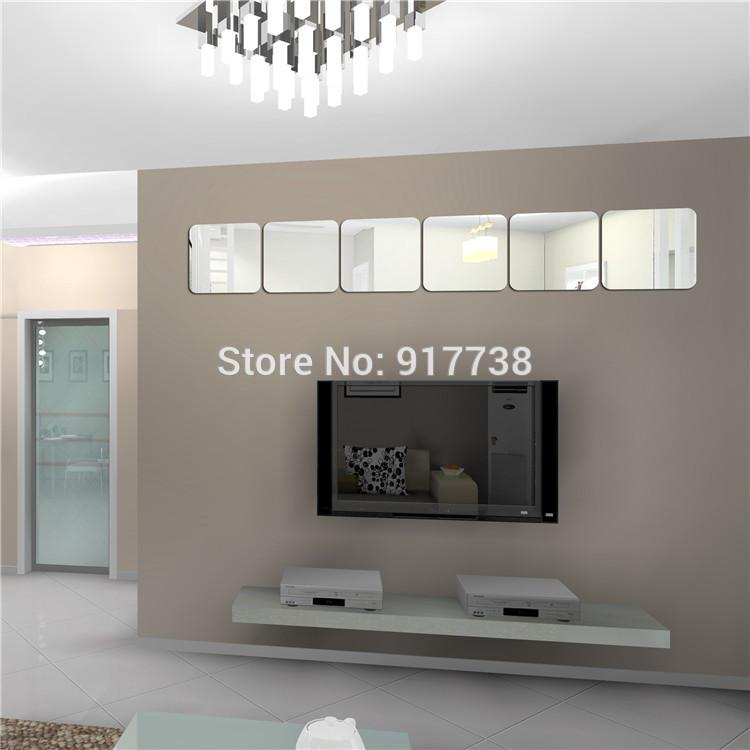 6pcs 160 160mm Square Mirror Decorative Wall Sticker Bedroom Decor 3d Wall  Stickers Home Decor oval. Mirror For Bedroom Wall