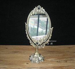 Wholesale Antique style faux bronze degree rotate dual sided cosmetic mirror make up mirror for desktop dresser counter Size S