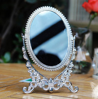 antique mirror table - Antique Pewter Embossed Rose Design Double Sided Table Mirror x5 inches