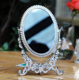 Wholesale Antique Pewter Embossed Rose Design Double Sided Table Mirror x5 inches