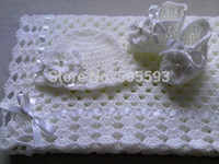 baby christening blankets - ON SALE Crochet Baby Blanket Hat and Booties Set gift christening baptism baby white afghan s11