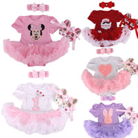 Wholesale Baby Infant Clothing Sets Christmas Tutu Rompers Dress Headband Shoes Baby Girl Birthday Jumpsuit Costumes