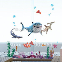 Wholesale Funlife Retro Cartoon PEEL and STICK Removable Vinyl Kids Wall Decal Wall Sticker Finding Nemo and Sharks III FA71PM078