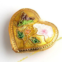 Wholesale 50 Flower Golden Cloisonne Charms Beads Filligree Heart Cloisonn Beads Diy Bead Handcraft