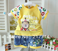 Cheap Wholesale-2015 new design 100% cotton baby summer suit lovely little bear character children clothing baby garment wholesale 6500