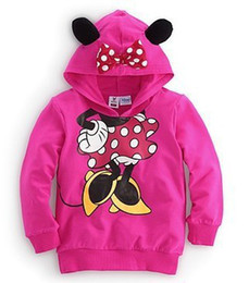 Cartoon long-sleeved sweater autumn bow Minnie rose red gray Kids Hooded Sweater t-shirt