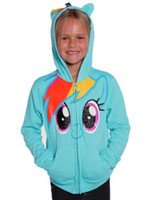 Cheap Girls My Little Pony Rainbow Blue Glitter Zip Hoodie Kids Sweatshirt Tops 218