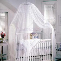 Cheap Wholesale-White Halo Mosquito Net Canopy netting for baby Toddler Crib Bed Cot infant Nursery Suitable for 150x80cm bed free shipping New