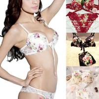 Cheap Sexy Lingerie Bikini Bra Set Luxurious Lace Panty Push up Bra and Thong 2pcs set with free shipping