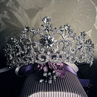 Wholesale 18K White Gold Plated Vintage Rhinestone Bridal Tiara Wedding Hair Accessories Crystal Pageant Crowns Wedding Tiaras and Crowns